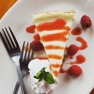Housemade Cheesecake with fresh raspberries at Amnesia Brewing
