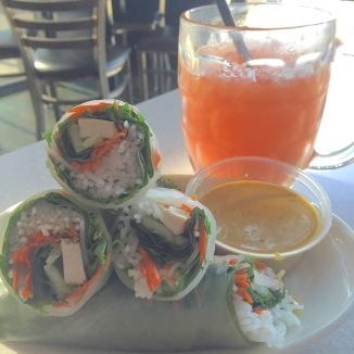 Tofu salad rolls and a Mai Tai at Ginger Pop